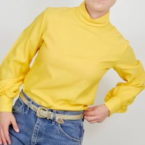 Vintage Tops - Vintage Yellow Mock Neck Balloon Sleeve Blouse